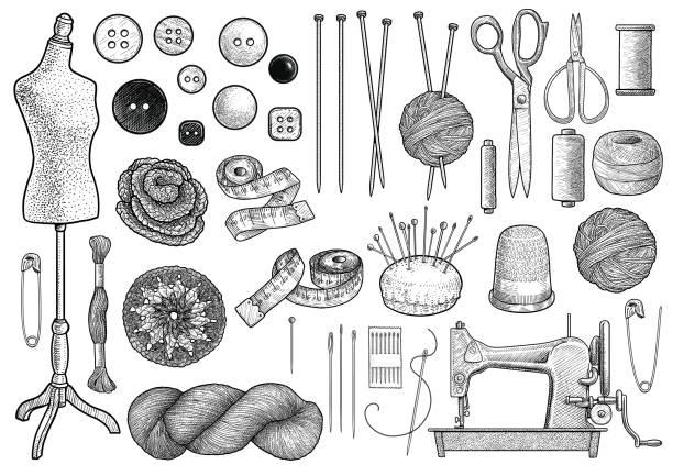 stockillustraties, clipart, cartoons en iconen met naaien, breien apparatuur collectie illustratie, tekening, gravure, inkt, zeer fijne tekeningen, vector - wollig