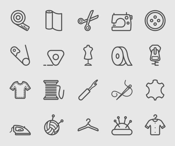 nähen-liniensymbol - lederverarbeitung stock-grafiken, -clipart, -cartoons und -symbole