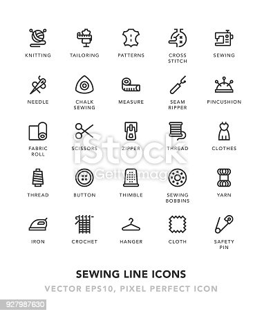 Sewing Line Icons Vector EPS 10 File, Pixel Perfect Icons.