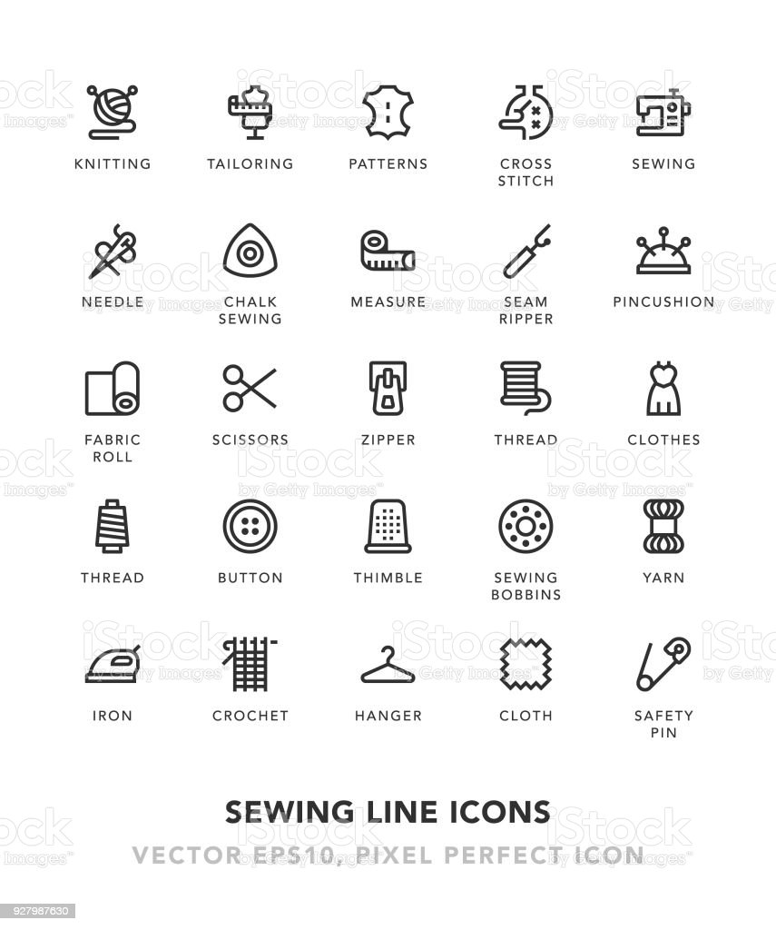 Sewing Line Icons vector art illustration