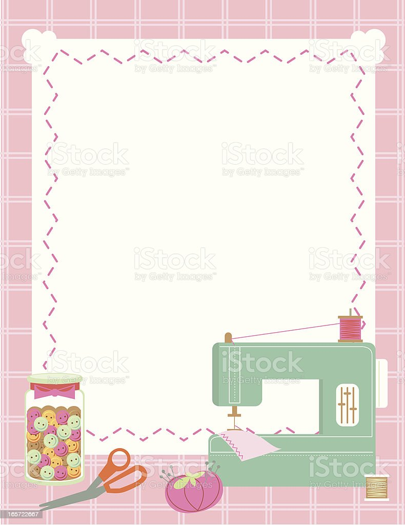 Sewing Machine And Accessories Border Stock Vector Art