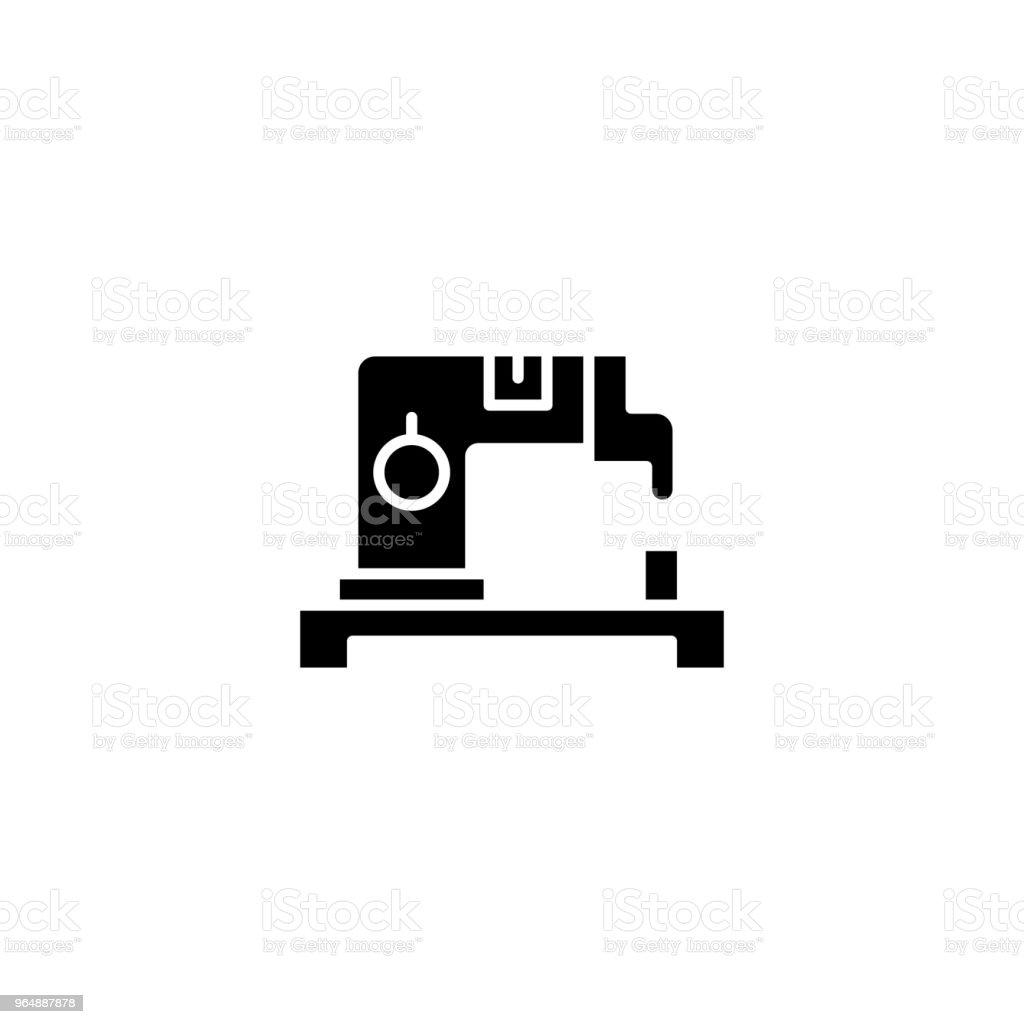 縫製機黑色圖示概念。縫紉機平面向量符號, 符號, 插圖。 - 免版稅一組物體圖庫向量圖形
