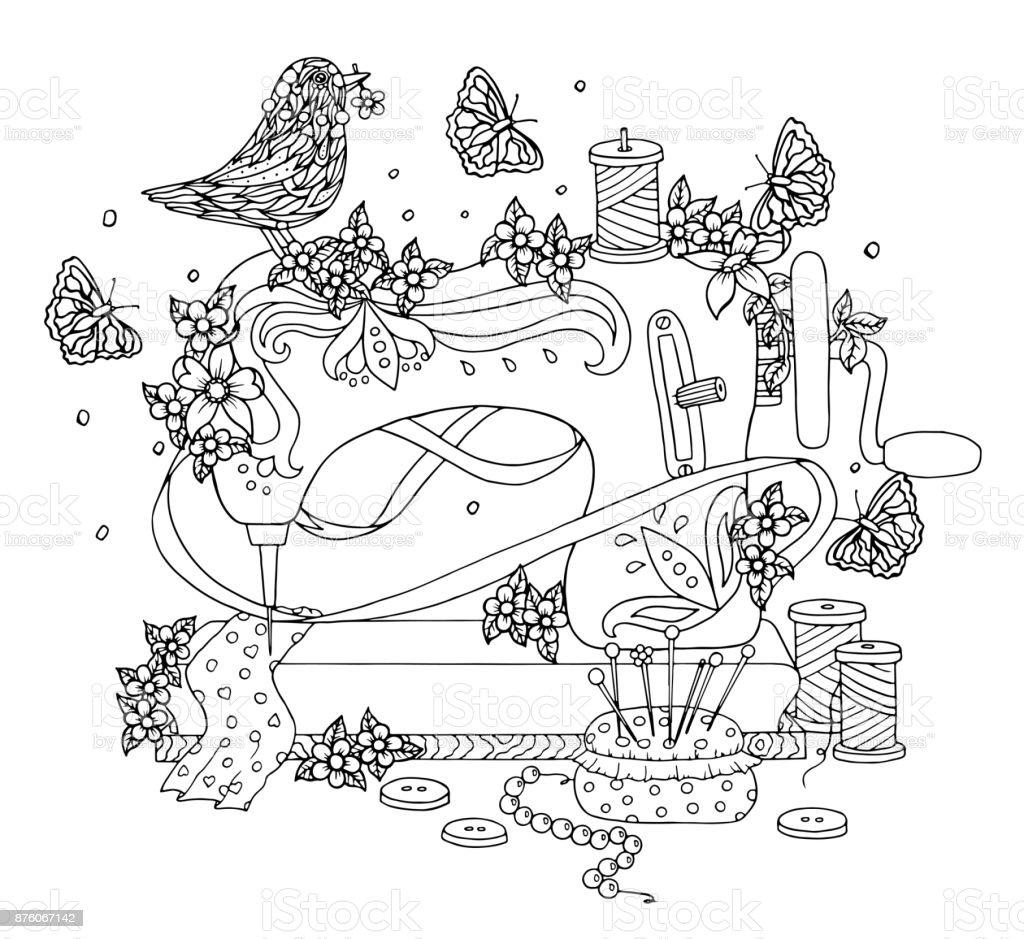 Ilustración de Máquina De Coser Cubierta Con Flores Y Aves En Ella ...
