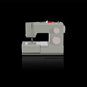 Sewing Machine Dress Cloth Tailor Vector Illustration