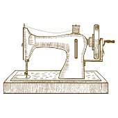 Sewing Machine Hand Draw Sketch. Vector