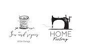 Minimal black and white sewing craft logotype design.