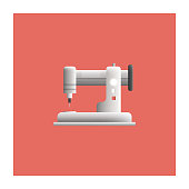 Sewing Machine Icon Flat Design