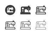 Sewing Machine Icons Multi Series Vector EPS File.