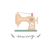 Sewing machine vector illustration and lettering on white background. Vintage object for tailors and craft lovers