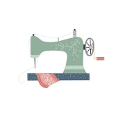 Sewing machine vector illustration on white background