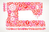 Sewing Machine  Women ,   Icons Vector Background. The outlines of the main shape are completely filled with round pink buttons. The buttons vary in size and in the shade of the pink color. Each button has a women's rights, ,   and feminism icon on it. The background is light with a slight gradient. The image is 100% royalty free vector and will scale seamlessly to any size. Individual icons show women in all walks of life and cover topics ranging from business to motherhood to social equality.