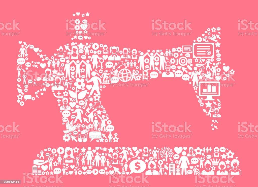 Nähmaschine Von Frauenrechten Und Girl Power Symbol Muster Stock ...
