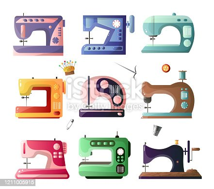 Modern and retro style sewing machines with different options set isolated on white background. Equipment of dressmaker. Product template in flat design style