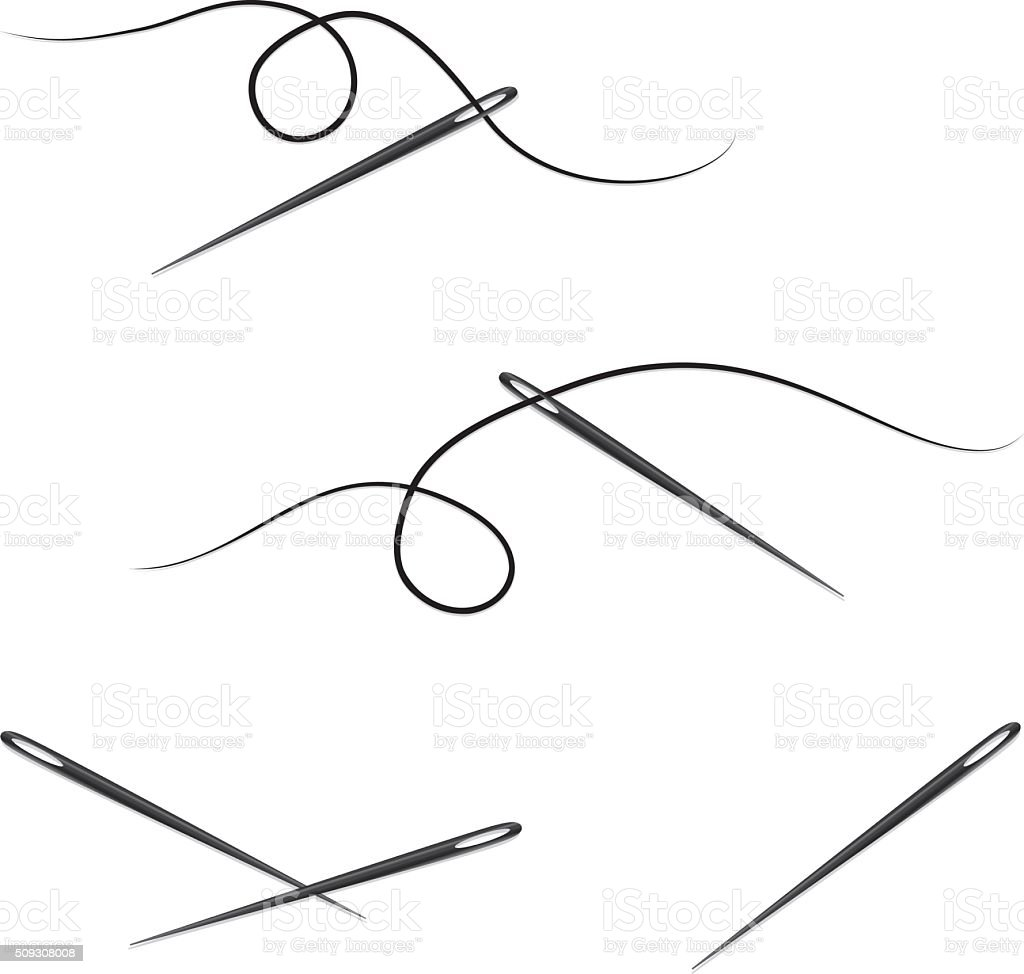 Sewing Needle and Thread Design Elements, Icons vector art illustration