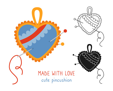 Sewing needle bed set line icon glyph style vector