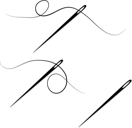 Sewing needles and thread in two versions, one version with just a sewing needle. Grayscale. *OPTIONAL* drop shadows.