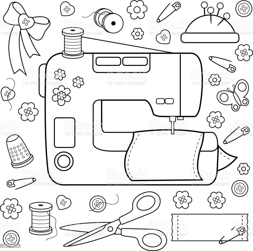 Sewing Project Tools And Equipment Coloring Book Page Stock Vector ...