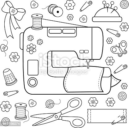 Sewing Project Tools And Equipment Coloring Book Page Stock Vector Art More Images Of Black White 641756074