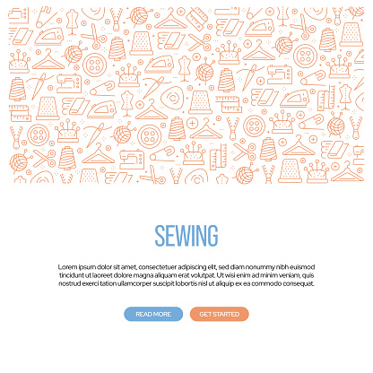 Sewing Related Banner Design with Pattern. Modern Line Style Icons Vector Illustration