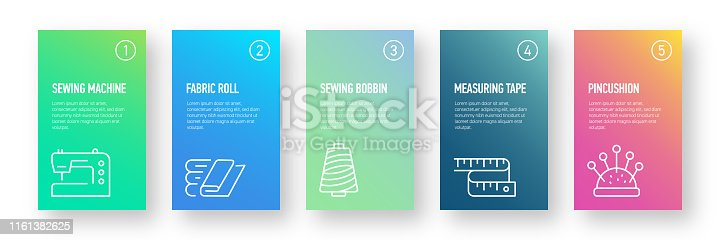 Sewing Related Infographic Design Template with Icons and 5 Options or Steps for Process diagram, Presentations, Workflow Layout, Banner, Flowchart, Infographic.