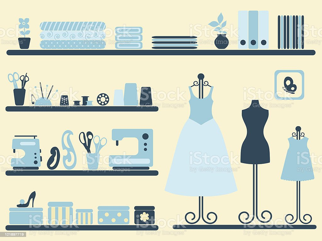 Sewing room interior and objects set. vector art illustration