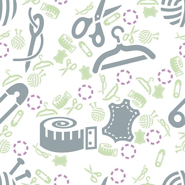 sewing seamless pattern vector art illustration