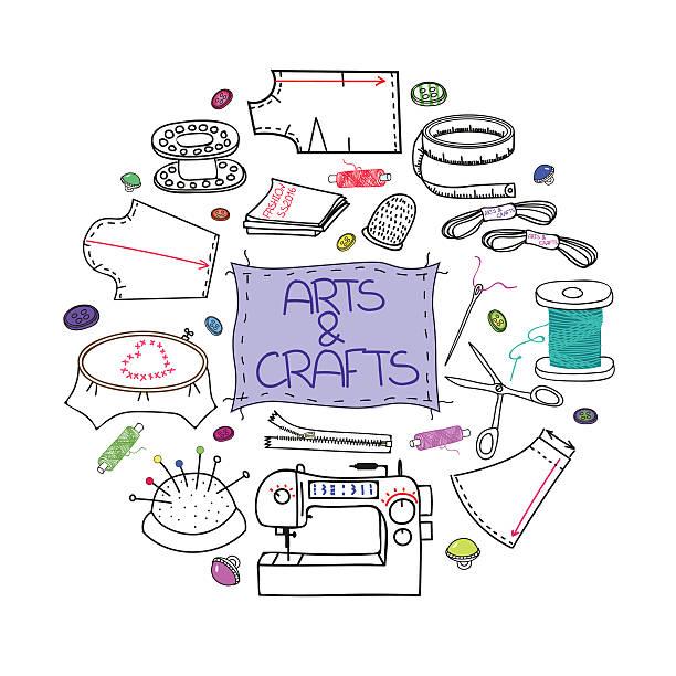 nähen set_round - herzkissen stock-grafiken, -clipart, -cartoons und -symbole