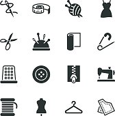 Sewing Silhouette Vector File Icons.