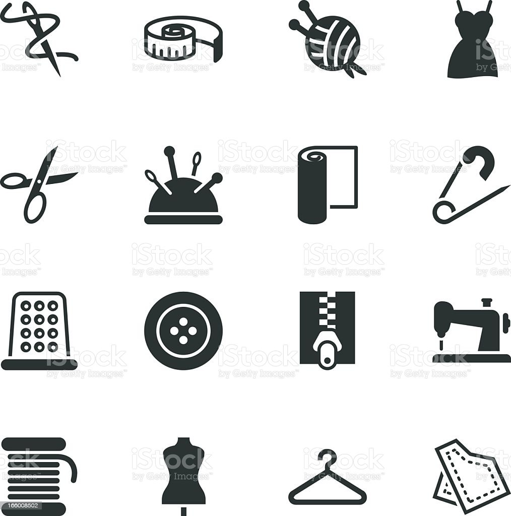 Sewing Silhouette Icons vector art illustration