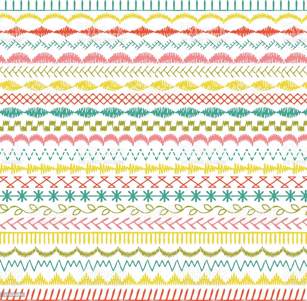 Sewing Stitch Borders vector art illustration