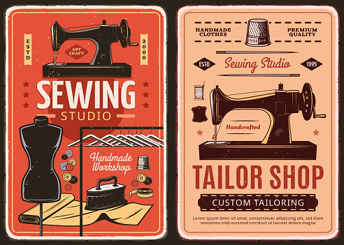 Sewing studio and tailor shop retro posters