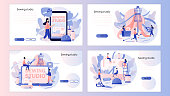 Sewing studio concept. Tiny people tailors create outfit and apparel. Screen template for mobile smart phone, landing page, template, ui, web, mobile app, poster, banner, flyer. Vector