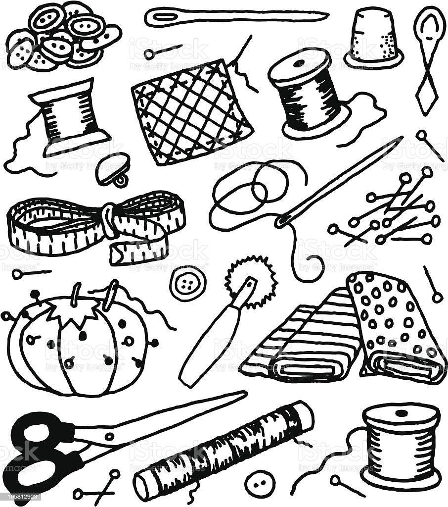 Sewing supplies doodles stock vector art more images of for Sewing and craft supplies