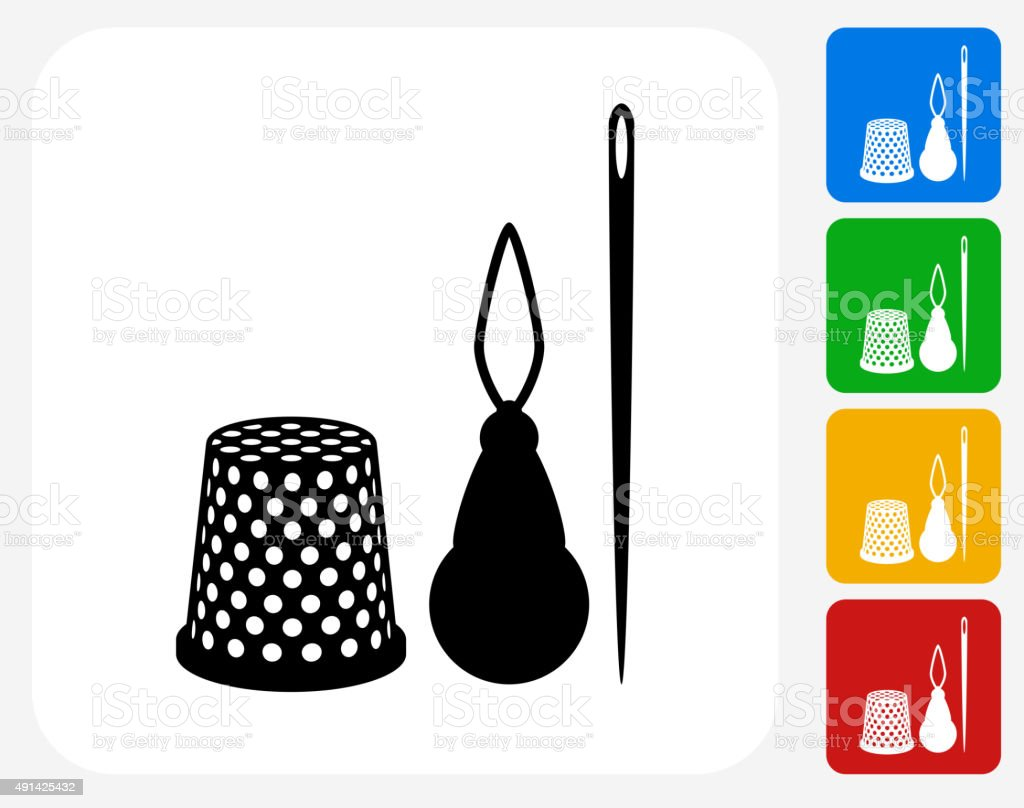 Sewing Supplies Icon Flat Graphic Design vector art illustration