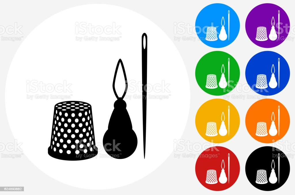 Sewing Supplies Icon on Flat Color Circle Buttons vector art illustration