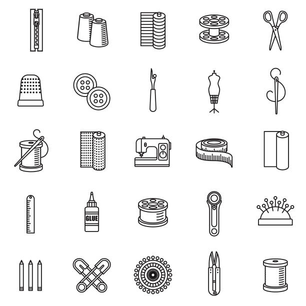Sewing Supplies Thin Line Icon Set vector art illustration