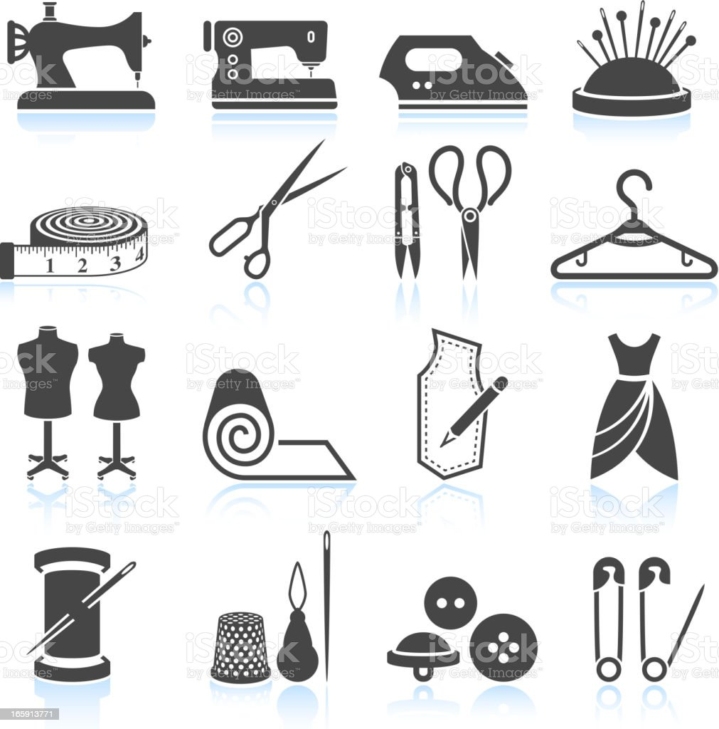 sewing tailor and Garment black & white vector icon set vector art illustration