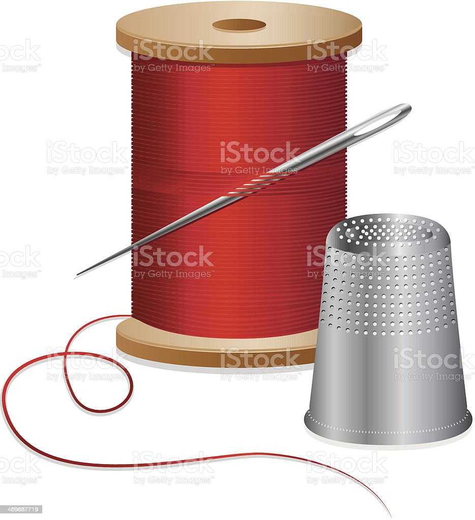 Sewing Thread, Spool, Needle, and Thimble Design Element Set, Icons vector art illustration