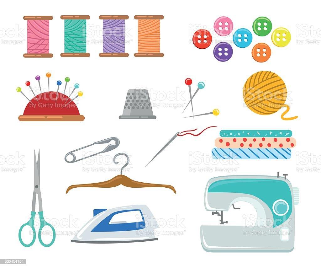 Sewing tools and equipment needle machine pin yarn vector art illustration