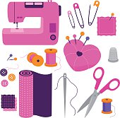 Sewing tools equipment and tailor needlework accessories icon vector illustration