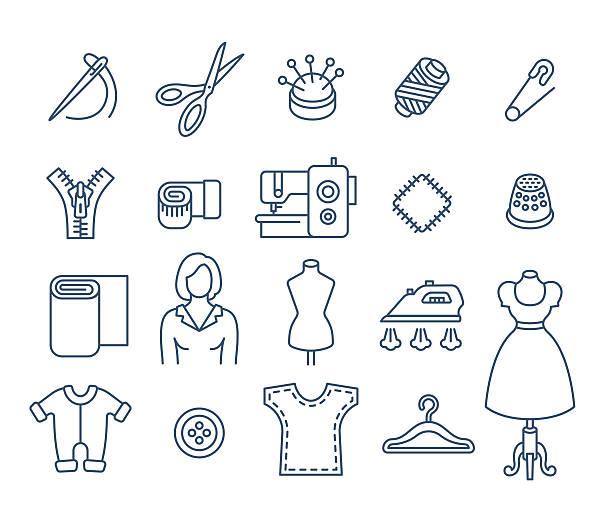 illustrazioni stock, clip art, cartoni animati e icone di tendenza di sewing tools flat thin line vector icons - pezze di stoffa