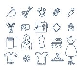 Sewing tools flat thin line vector icons