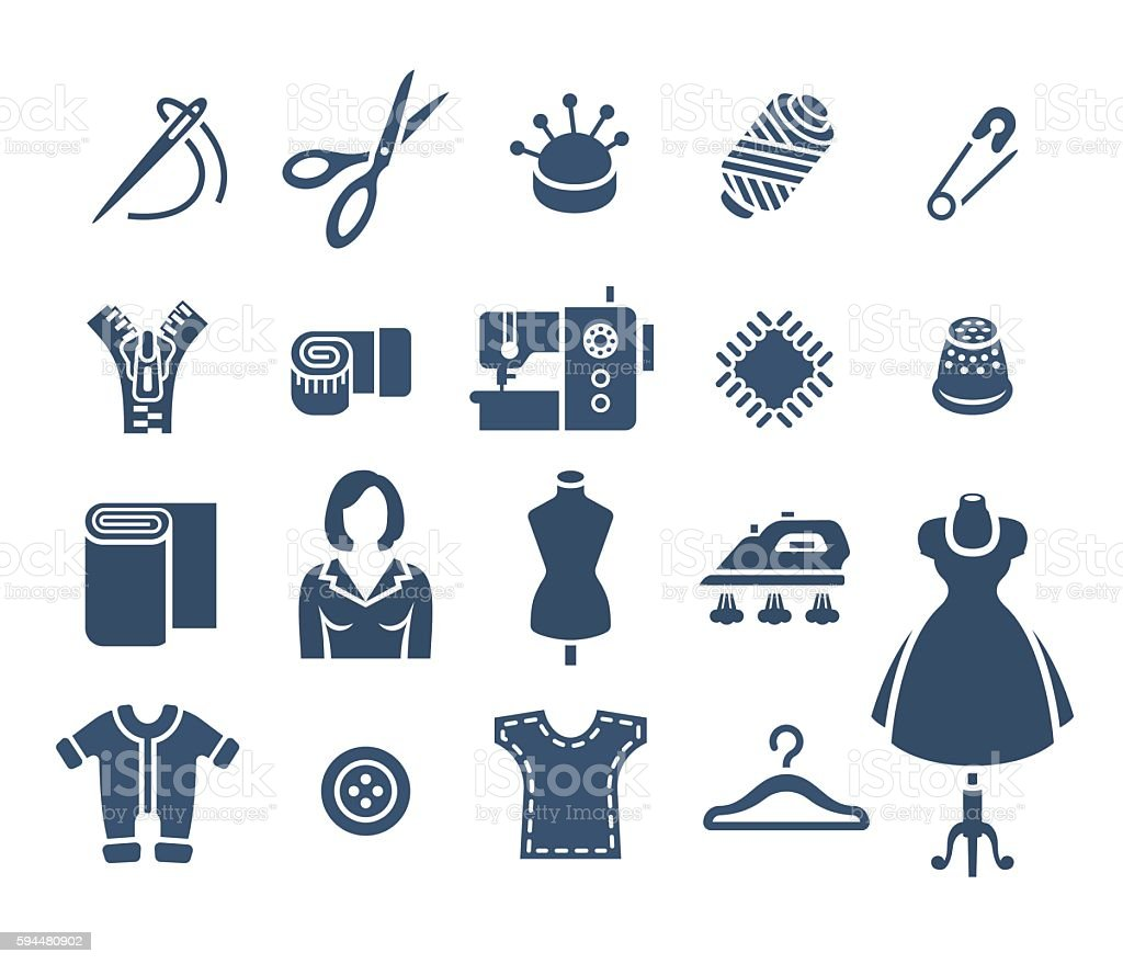 Sewing Tools Flat Vector Silhouette Icons Stock ...