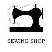 Vector illustration of sewing machine and accessories for sewing shop and atelier. Logothype, logo or icon for sewing business. EPS 10