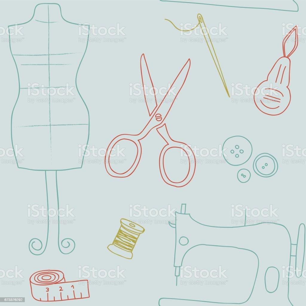 Ilustración de Diseño Retro De Coser Utilidades Wallpaper Multicolor ...