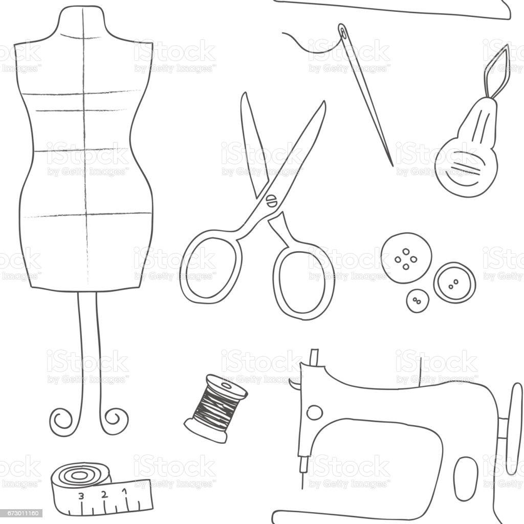 Ilustración de Utilidades De Costura Blanco Doodle Retro Diseño De ...