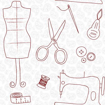 Sewing white doodle wallpaper seamless pattern retro design