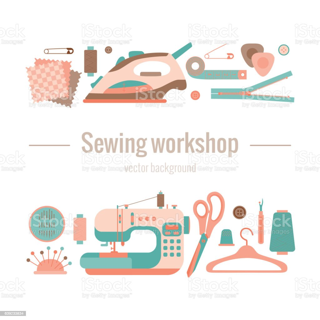 sewing workshop concept vector art illustration