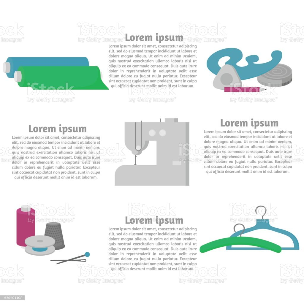 Sewing Workshop Equipment Flat Tailor Shop Design Elements Tailoring Industry Dressmaking Tools Icons Fashion Designer Sew Items Template Stock Illustration Download Image Now Istock