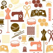 A seamless repeatable pattern of sewing and craft related icons. See below for an icon set of this file.